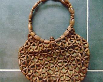 70s WOOD BEAD handbag Boho Chic