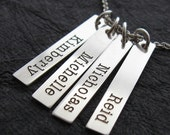 Engraved Custom Personalized Necklace - Sterling Silver - Ashley four (4) rectangles by Wickedly Mod
