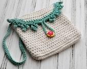 Crocheted Girl's Purse - Crochet Bag - Fashion Purse - Crochet - Turquoise - Beige