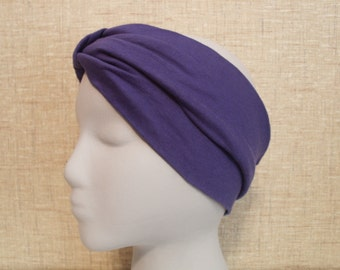 ROYAL BLUE Turban Headband / Hair Bands / Wide Head Wrap Turband / Boho Hair Covering Wrap / Jersey Stretch Ruched with Fabric Wrap