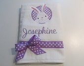 Little Girls, Bath, Beach, Pool Towel with Bunny Patch Applique, Lavender Gingham, Lavender Polka Dots, Monogram