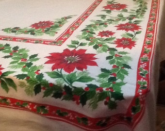 Gorgeous Large Poinsettia and Holly Tablecloth