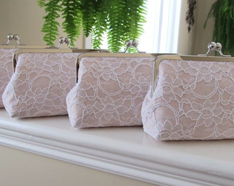 SALE, 15% Off, Bridal Silk And Lace Clutch Set Of 4 Blush,Blush Wedding Clutch,Bridesmaid Clutches,Bridal Accessories