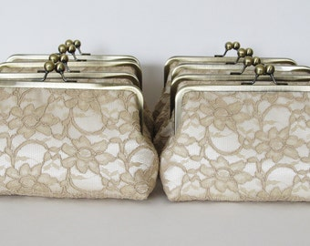 SALE, 20% OFF, Bridal Silk And Lace Clutch Set Of 8 Champagne,Wedding Clutch,Bridesmaid Clutches,Bridal Accessories