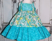 Park Slope Lime & Aqua Twirly Tiered Knot Dress 12M 18M 2 3 4 5 6 7 8 10 12 14 Birthday Party Custom Handmade Retro Pop Made in USA Twirl