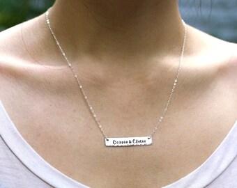 Rectangle Bar - Sterling Silver Handstamped Necklace
