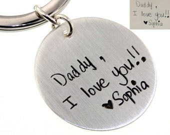 Actual Handwriting - Sterling Silver Key Chain on Round Disc For Dads