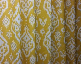 Pair (2 panels) designer drapes, Raji slub corn yellow cotton