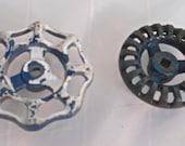 Set of 2 Vintage Blue Metal Spigot Handles