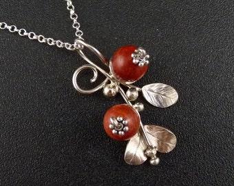 Cranberry Sterling Silver Pendant Handmade Metalwork
