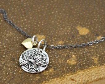 sterling silver lotus flower charm necklace, petite gold heart, Zen necklace, yoga, oxidized sterling silver chain, water lily