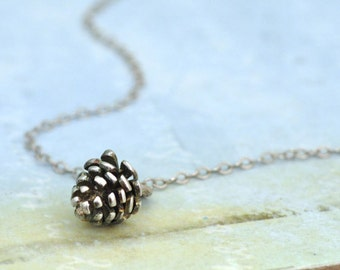 sterling silver charm necklace, TINY PINECONE, layer necklace, black and white, antiqued sterling silver pinecone necklace