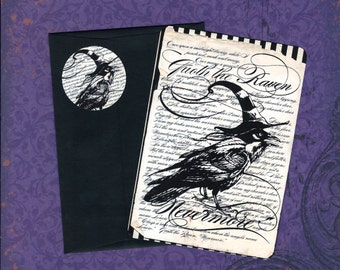 Halloween Cards w/ Stickers, Raven Cards, Halloween Raven