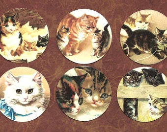 Stickers, Kittens, Cat Stickers, Vintage Style Stickers