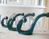 turquoise wall hooks trio hooks coat hook clothing hook rustic hooks shabby chic rustic decor cottage country - 3 pieces