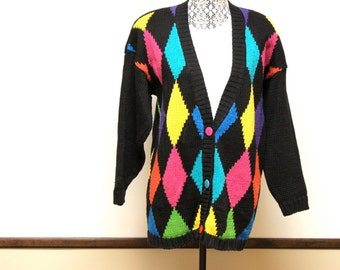 Vintage Women's cardigan -  1970s Womens multicolor cardigan by Reference Point size S