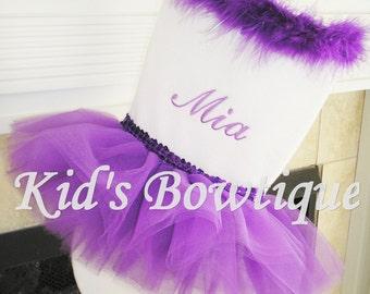 Purple Ballerina Tutu Personalized Christmas Stocking -  Unique Custom Stocking - Monogrammed Christmas Stocking