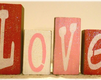 Valentine Love Blocks Wood Set Pink And Red With Glitter