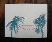 RESERVE for Caitlin Letterpress Postcard Festive Palms