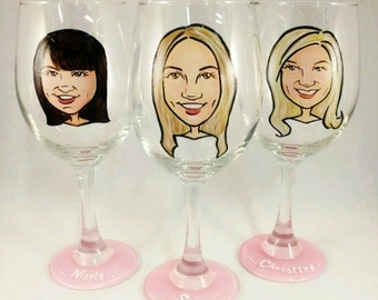 Maid of Honor Gift - Hand Painted Bridesmaid Wine Glasses - Original Custom Caricature Glasses (tm) -  Personalized