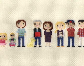 Extra Large Family Custom Pixel Cross Stitch Portrait (Unframed)