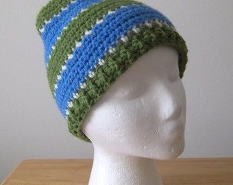 Striped Crochet Hat for Men or Boys