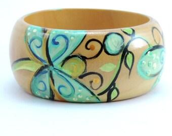 Bracelet, Dragonflies, Jewelry, Hand Painted Wooden Bracelet,