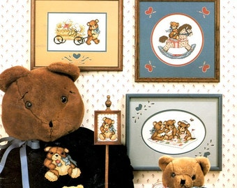 Tea Time Teddies Gossip Riding Rocking Horse Pulling Wagon Cuddling Under Quilt Counted Cross Stitch Craft Pattern Leaflet Leisure Arts 486