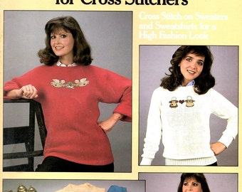 More Sweaters for Counted Cross Stitchers Embroidery Folk Art Angel Geese Teddy Bear Patchwork Hearts Craft Pattern Leaflet Leisure Arts 426