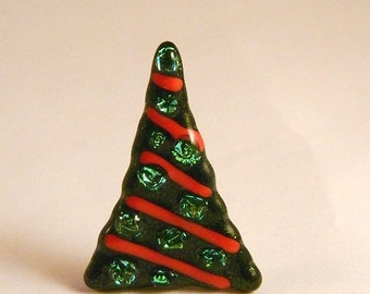 Whimsical sparkly Fused Glass Christmas tree pin, CT146