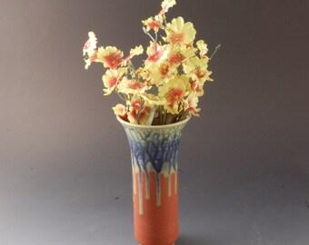 Pottery Wall  Vase Rust Brown Fern Blue by Mark Hudak
