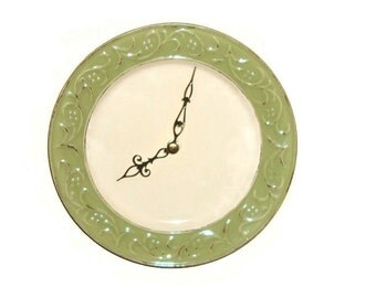 Sage Antiqued Floral Wall Clock - Ceramic Plate Clock - Kitchen Clock - Unique Wall Clock - Wall Decor - 1432