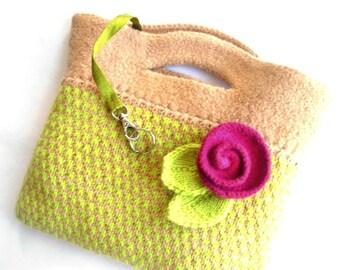 Rita Felt Bag Purse Chartreuse Green Beige Hand Knit Tweed
