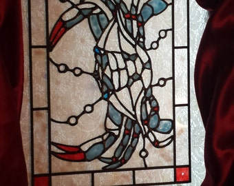 Blue crab in the ocean stained acrylic glass window