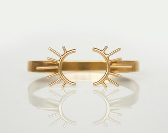 Open Brass Bangle- Adjustable Bracelet- Gold Burst- Sun Burst  Bracelet- Silver Bracelet