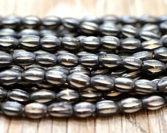 Oval Bone  Beads, 44pc Strand,  Small Bone Beads, Brown Beads, Bone Tube - BO24