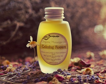 Organic Massage Oil for baby or adult. Eco-friendly vegan herbal and 100 natural Calming Flowers. SALE, was 10
