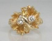 Vintage Diamond Cocktail Ring Unique Organic Design - 0.20 Carats - 14K Yellow Gold