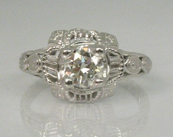 Vintage European Cut Diamond Engagement Ring - 0.45 Carat - 18K White Gold - Appraisal Included