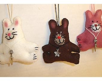 Rabbit Ornament/ Made of Felt/ Handmade/Single OR Set(s)/MADE to Order**