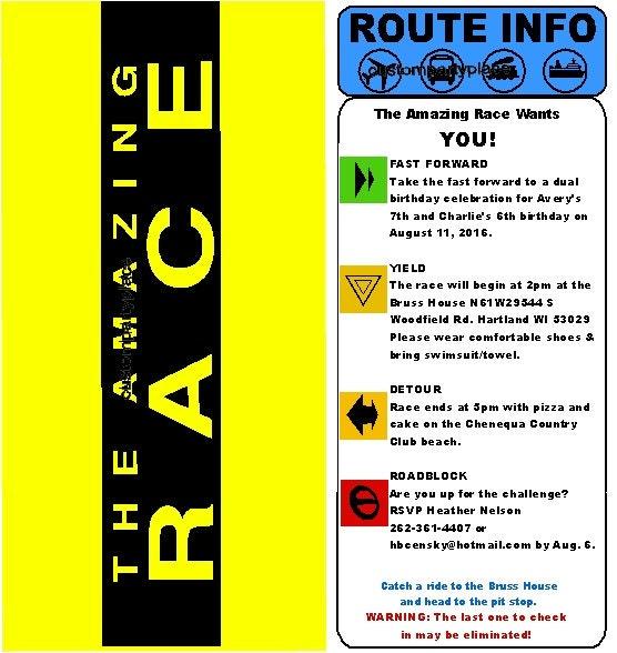 Amazing Race Custom Clue Card Birthday by CustomPartyPlace on Etsy
