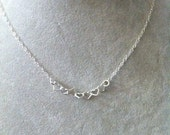 Sweet, Tiny Hearts Sterling Silver necklace - tiny linked hearts  love