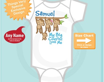 Personalized Boy's My Big Cousins Love Me Onesie or Tee Shirt with cute little monkeys (12092014e)