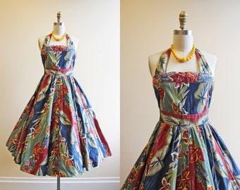80s Dress - Vintage 1980s does 1950s Dress - Tropical Border Print Floral Cotton Halter Sundress S - Sinharaja