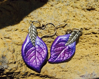 Purple leaf earrings, Naturally beautiful and one of a kind pieces of nature hand cast from real leaves.