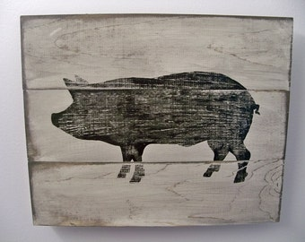 Distressed Pig Wall Art