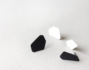 Set of 4 Stud Silver Earrings, Black and White Stud Earrings, Geometric Silver Stud Earrings, Minimalist Sterling Silver Earrings,
