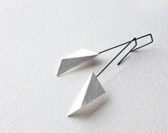 Geometric Copper Earrings, Geometric Silver Earrings, Triangle Dangle Earrings, Hook Earrings, Statement Earrings, Minimalist Earrings