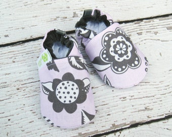 Classic Woodcut Flower in Grey and Pink All Fabric Soft Sole Baby Shoes / Made to Order