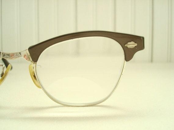 Vintage eyeglasses dark brown & silver womens by ...